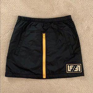 LF Black and yellow zipper mini skirt w pockets